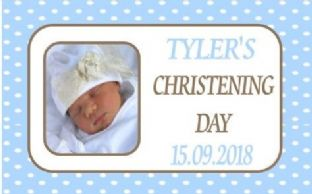 Boy Photo Polka Dots Christening Chocolate Candy Bar Wrapper